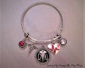 RN Registered Nurse Bangle Bracelet Antique Silver Medical Professions Crystal Pendants Charms Caduceus Nursing Heartbeat