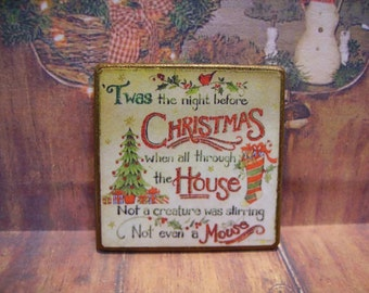 Twas the Night before Christmas Miniature Wooden Plaque 1:12 scale for Dollhouses