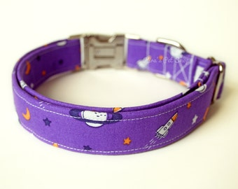 Purple Galaxy Dog Collar, Cute Dog Collar, Designer Dog Accessories, Pet Accessories, Adjustable Collar, Japanese Fabric, Saturn & Spaceship
