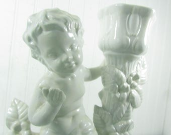 Shabby chic candle holder, ceramic candle holder, cherub figurine ,Nordic French decor,statue, vintage candle holder