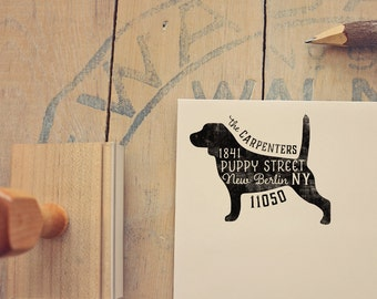 Beagle Address Stamp - Dog Return Address Stamp - Dog Lover Gift - Rubber Stamp - Personalized Pet Address Stamp
