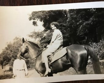 Vintage horse photo pretty lady on beautiful horse