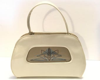 Vintage Patent Leather Ivory Purse / 1950s Handbag / Rockabilly Hand Painted