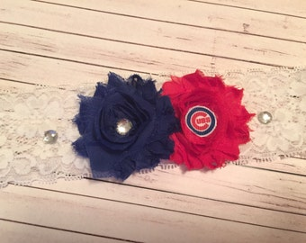 Cubs Wedding Garter / Chicago Cubs / Bridal Garter / Wedding Garter Set / White Lace Garter / Baseball Garter