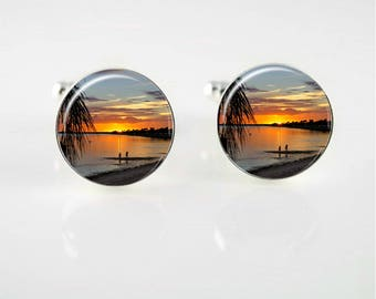 Tropical Sunset Cuff Links or Tie Clip