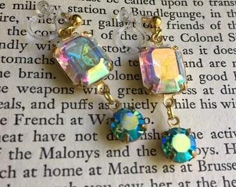 Aurora Borealis Swarovski Rhinestone Invisible Resin Clip On Earrings / Bridal Clip Earring / Dangle Clipon