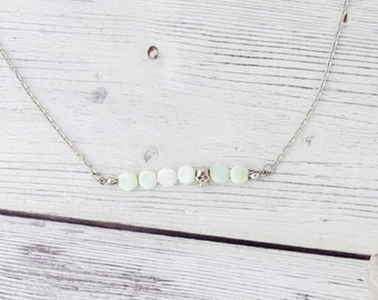 Unconditional love - october birthstone, ethiopian opal necklace, green opal bar necklace, dainty necklace, indie, simple gemstone necklace