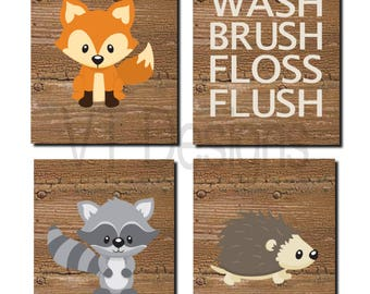 Woodland Bathroom Art Kids Bathroom Decor Forest Animals Bathroom Rules Toddler Art