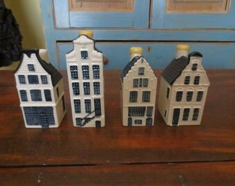 Set of 4 KLM Delft Houses , Bols , Decanters, Numbers 11,46,50,51
