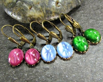 Star Sapphire Earrings with Oxidized Brass Leverbacks or French Hooks