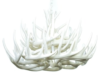White Antler Chandelier, W21C Faux Antlers,  Large white antler chandelier