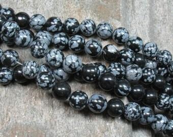 "8 mm Snowflake Obsidian Beads, 15"" strand - Item B0825"