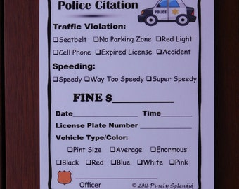 Fake Speeding Ticket form, Police Pretend Play Props, Traffic Citation Pad of paper, creative birthday party, cops and robbers dramatic play