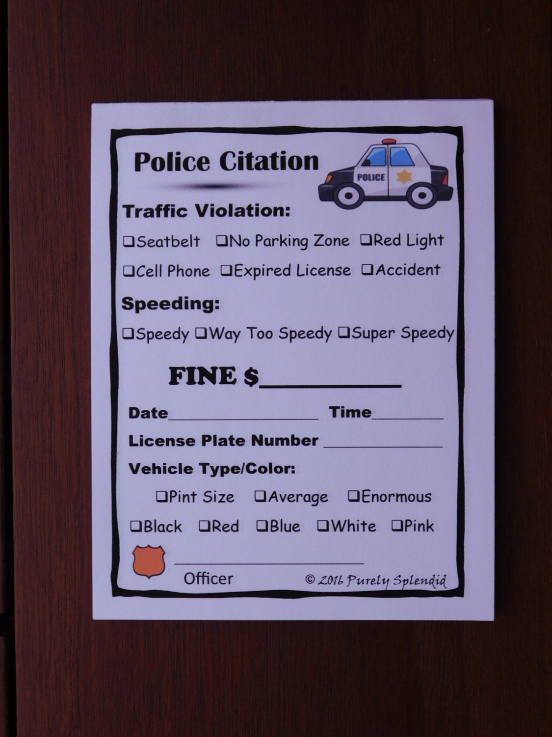 fake speeding ticket form police pretend play props traffic