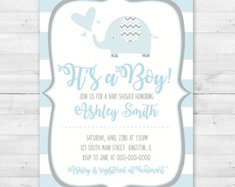 Elephant Baby Shower Invitation - Pink or Blue