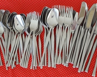 63 Pieces Vintage Nasco Concerto Flatware 18-8 Stainless Steel Mixed Lot Japan