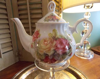 VINTAGE TEAPOT,  Floral Cottage Chic Teapot, Cabbage Rose China Serving Teapot