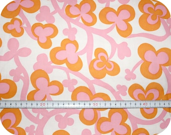 Floral retro vintage fabric - pink and orange