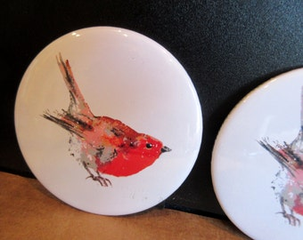 Robin Redbreast pocket/handbag mirror. My lovely Robin printed onto a handy little mirror.From an original painting by Suzanne Patterson