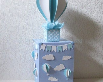 Hot air Balloon, Up in the Sky Centrepiece or Gift Box/Cake Topper