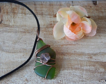 Recycled Green Glass Pendant Necklace, Wire Wrapped Pendant, Eco Chic Jewelry for Women, Tumbled Matte Glass, Gift Idea under20