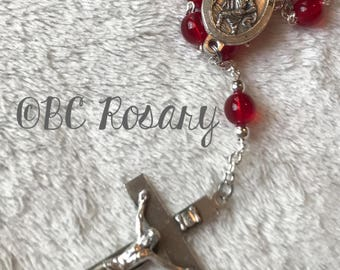 Catholic Saint Christopher Red Auto Rosary