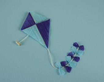 Childs Toy Kite in Purple and Blue - 1:12 or 1/12 Scale Dollhouse Miniature for Beach, Garden, Toy Store, Shop, Beach Kiosk, Playroom