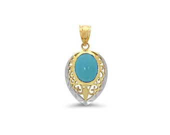 14k solid gold two tone turquoise pendant.