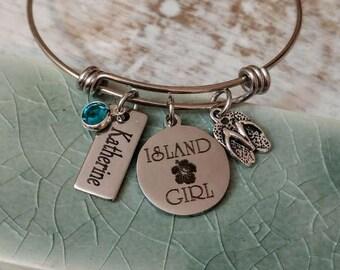 Personalized Island Girl Engraved Flip Flop Swarovski Bangle Bracelet - Hibiscus, Cruise, Honeymoon, Beach Vacation Jewelry