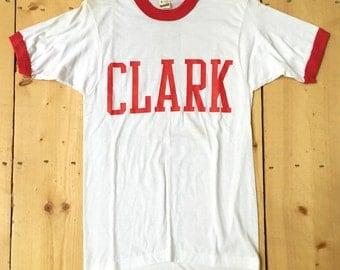 Vintage 80s Clark University Screen Stars Best Red Ringer Deadstock T Shirt - Small