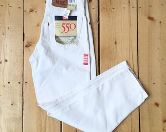 Vintage Deadstock 90s Levis 550 White Denim Original Red Tab Relaxed Fit Tapered Leg Jeans - 33 x 30