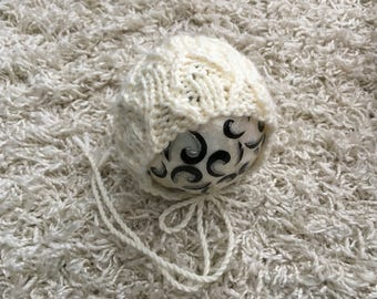 Newborn knit neutral round back bonnet,knit,crochet,photo prop,coming home,gift idea,rts