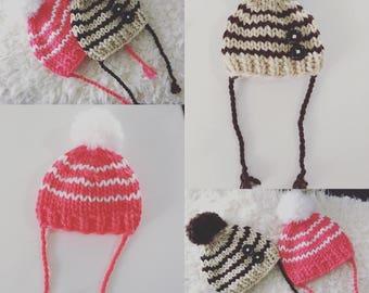 Newborn knit striped beanie hat with pompom,boy,girl,photo prop,gift idea,bonnet,knit,crochet,ready to ship