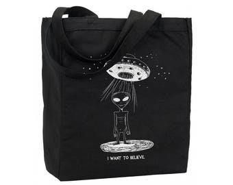 Cotton Reusable Tote - Alien Library Book Bag - I Want to Believe Gift Bag  - Recycled Cotton Canvas Tote - Item 1660 - White Ink