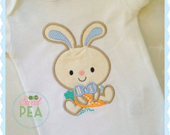 Boys Easter Shirt - Personalized Easter Bunny Shirt - Baby Bunny Shirt - Baby Bodysuit - Easter Bunny - Carrot Shirt - Embroidered Shirt
