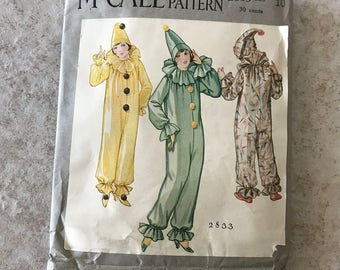 1920's  McCall Girl's Clown Suit Pattern  2833
