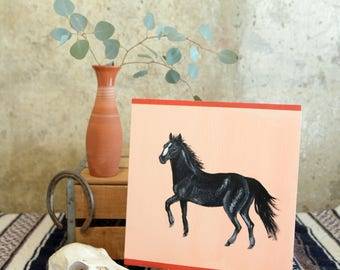 Black Stallion Wild Horse Painting on pink and red wood