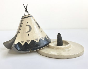 Incense Burner TeePee that smokes, Ceramic Moon Phase Design, Native American Indian Aztec Design, Stoneware Clay Pottery, Unique Yogi Gift