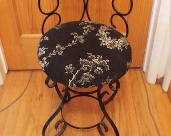 Vintage Wrought Iron Vanity Chair - George Koch & Sons