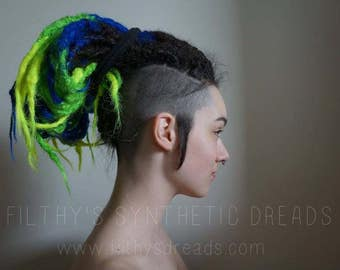 Full kit of CUSTOM long natural synthetic dreads / dread extensions / fake dreadlocks / dreadlock extensions
