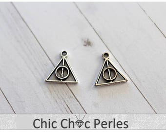 Small Deathly Hallows Antique Silver (double sided) 13mm x 13mm (BR1491-BR1491b)