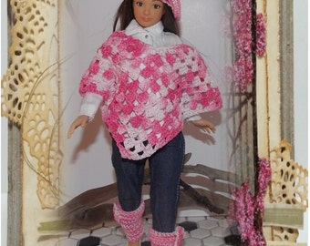 PONCHO ONLY - Crocheted Pink Poncho by Di.  Handmade Lammily Clothes.  Does not fit Barbie sized dolls. Easter Clothes
