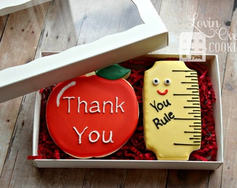 Teacher Appreciation Decorated Sugar Cookies - Boxed Gift Set