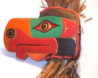 West Coast Canada HAIDA Tribal Carved and Painted Wood EAGLE Head Mask SCULPTURE
