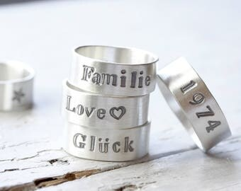 Personalized silver ring with the word 7mm wide, ring, 925 silver