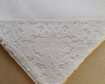 Pretty cotton Vintage handkerchief unused