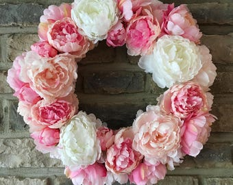 Spring Floral Wreath, Peony Wreath, Floral Wreath, Wedding Day Wreath, Summer Wreath, Flower Decor, Wall decor, Peony Spring Wreath