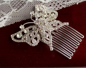 Rhinestone Butterfly Comb, Bridal Hair Accessory, Crystal Comb, Wedding Hair Comb, Butterfly Hair Piece, Vintage Hair Comb, Bridal Hair Comb