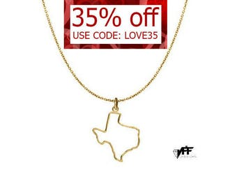 Tiny Texas Necklace Gold plated 18k Choose any state handmade pendant on 925 silver