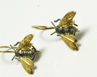 Sterling silver bees, Silver bees earrings,Bees hook earrings,Sterling silver earrings